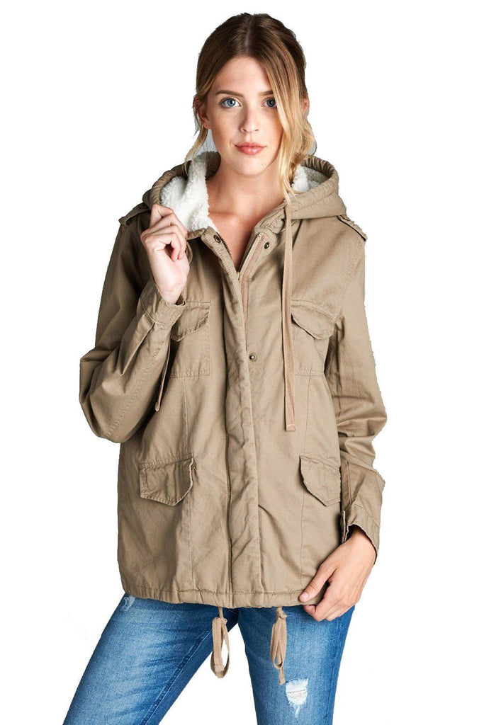 Faux Fur-Lined Contrast Anorak Parka Jacket in Khaki