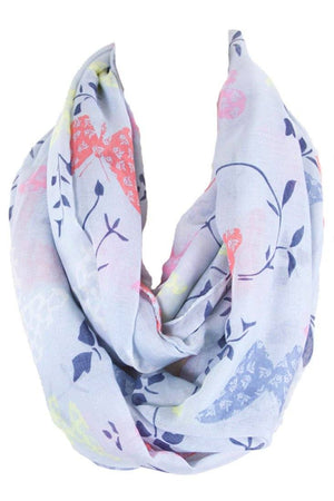Soft Butterflies & Floral Pattern Infinity Loop Scarf - Niobe Clothing - 1