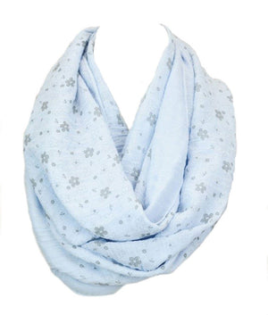 Whimsical Floral Daisy Design Infinity Loop Scarf in Light Blue Scarves- Niobe Clothing