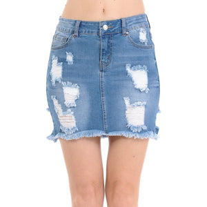 Destruction Frayed Hem Distressed Denim Skirt Skirts- Niobe Clothing