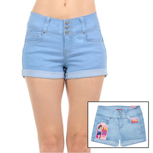 Mid Rise Junior Push Up Denim Shorts Shorts- Niobe Clothing