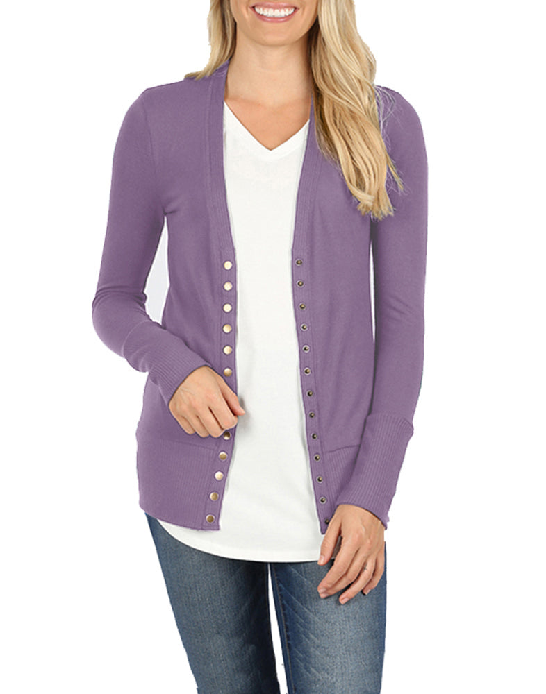 Snap Button Long Sleeve Sweater Cardigan Cardigans- Niobe Clothing