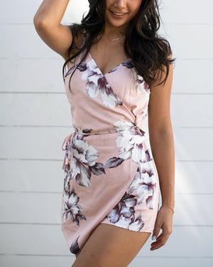 Floral Romper wtih Side Tie Rompers- Niobe Clothing