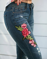 Capri Jeans with Embroidered Rose Accent pants- Niobe Clothing