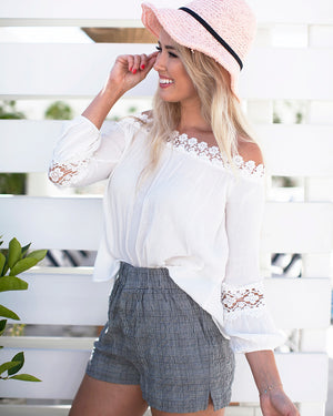 Off The Shoulder Floral Lace Accent Top