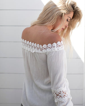 Off The Shoulder Floral Lace Accent Top-Shirts-Niobe Clothing