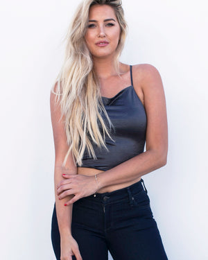 Lace Up Crop Top Tank in Charcoal