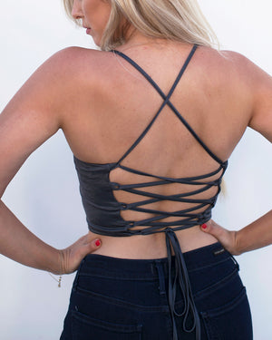 Lace Up Crop Top Tank in Charcoal-Tops-Niobe Clothing