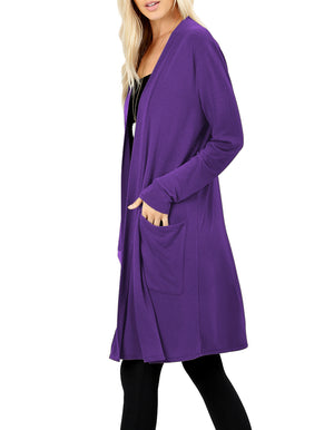 Long Sleeve Draped Long Cardigan