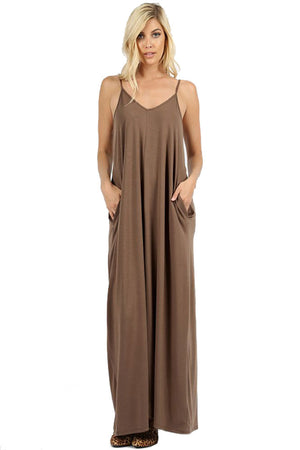 V-Neck Cami Spaghetti Strap Maxi Dress