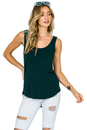 High Low Asymmetric Side Hem Scoop Neck Tank Top Tops- Niobe Clothing