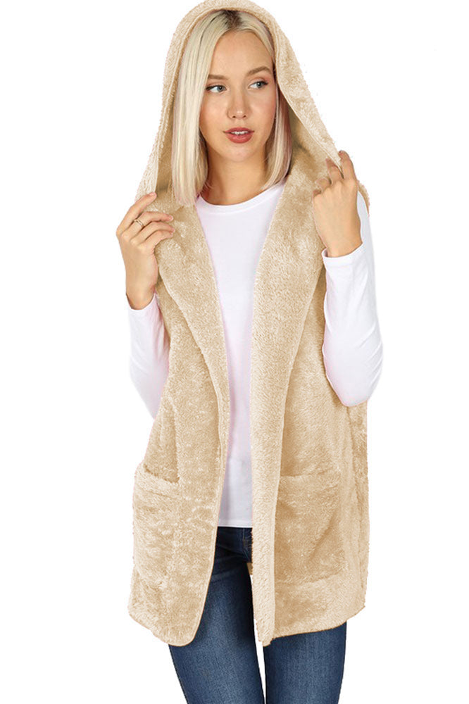 Sleeveless Faux Fur Hooded Vest Vest- Niobe Clothing
