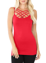 Seamless Nylon Criss Cross Cami Long Tank Top