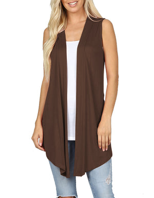 Lightweight Sleeveless Open Draped Cardigan