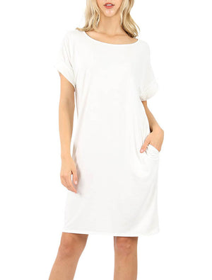 Rolled Short Sleeve Loose Tunic Shirt Dress