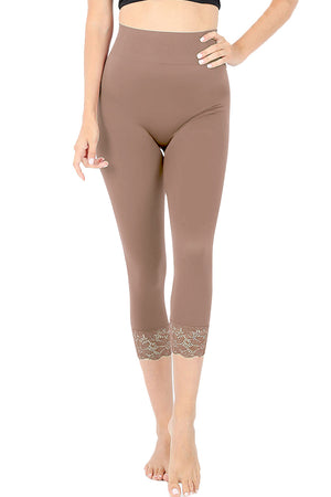 High Waist Seamless Nylon Capri Lace Trim Leggings