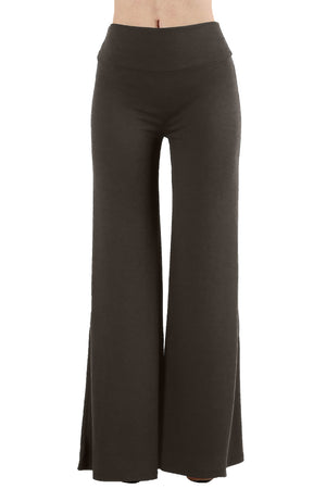 Solid Basic Wide Leg Palazzo Pants-pants-Niobe Clothing