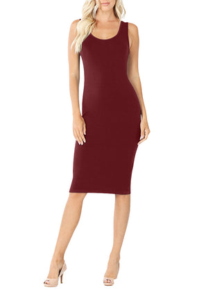 Sleeveless Bodycon Tank Knee Length Midi Dress