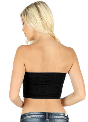 Seamless Banded Solid Bandeau