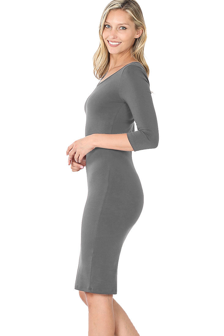3/4 Sleeve Bodycon Fitted Knee Length Midi Dress