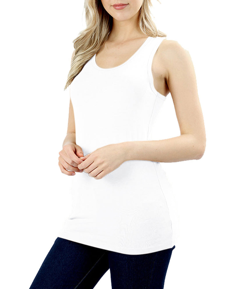 Basic Solid Cotton Racerback Tank Top Tops- Niobe Clothing