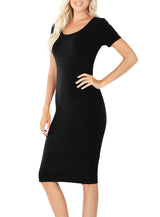 Short Sleeve Bodycon Fitted Knee Length Midi Dress