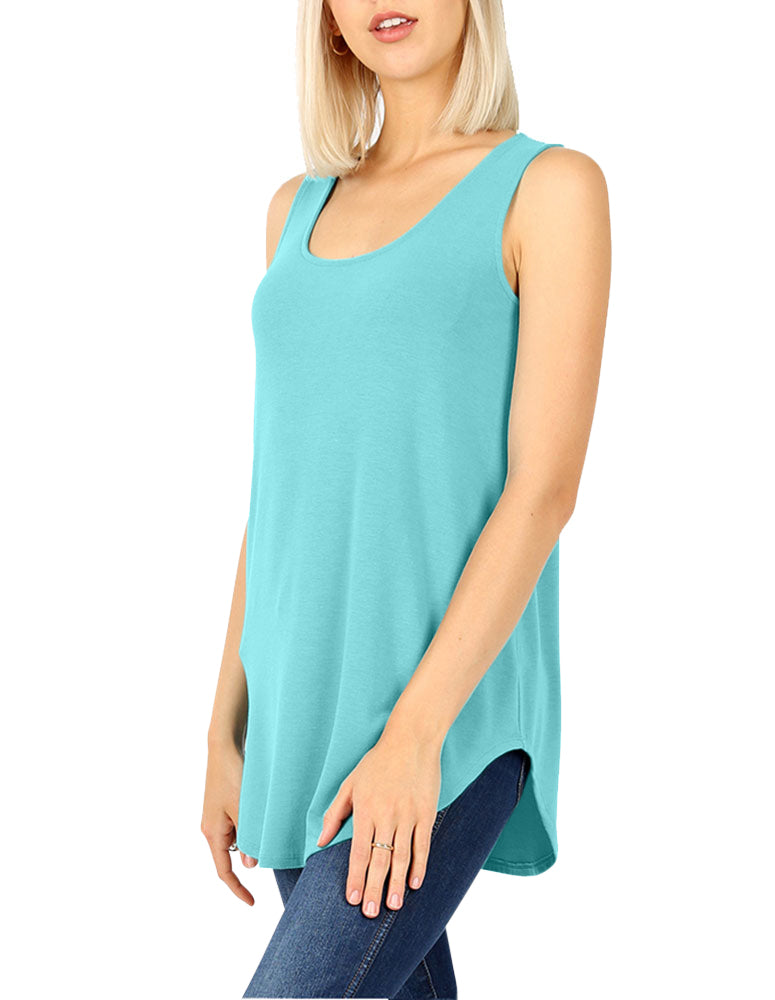 Sleeveless Round Neck Relaxed Fit Tank Top