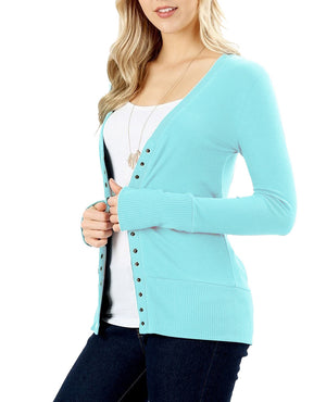 Snap Button Long Sleeve Sweater Cardigan