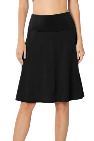 High Waist Fold Over A-Line Flared Midi Swing Skirt