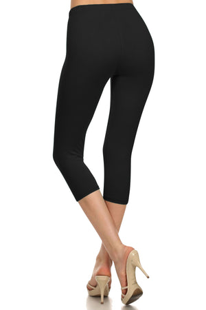 High Waist Solid Microfiber Ultra Soft Capri Leggings (One Size)