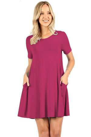 Short Sleeve Flared Straight Hem Tunic
