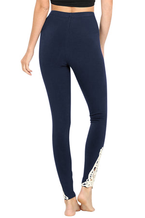 Cotton Full Length Ankle Lace Leggings leggings- Niobe Clothing