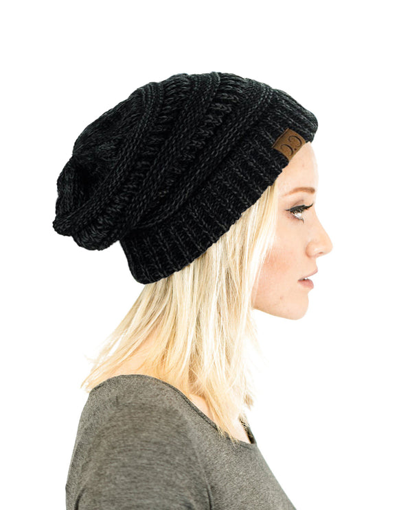 Two-Toned Unisex Soft Stretch Knit Slouchy Skull Beanie Hats- Niobe Clothing