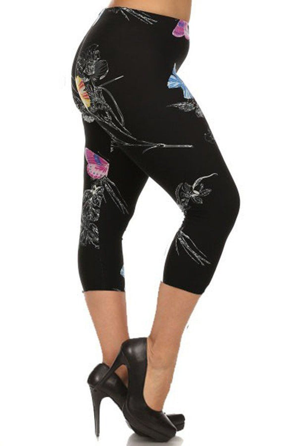 Vibrant Butterflies Design Plus Size Capri Leggings leggings- Niobe Clothing