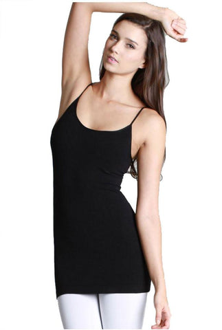 Seamless One Size Thin Strap Jersey Tank Top (Black)
