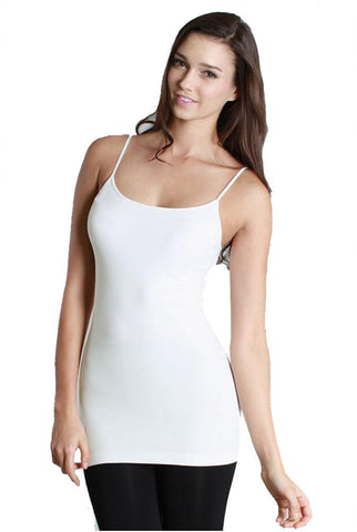 Seamless One Size Thin Strap Jersey Tank Top (Ivory)