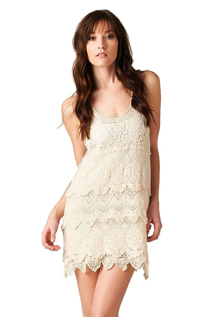 Textured Layered Sleeveless Scallop Crochet Lace Dress (Natural) - Niobe Clothing - 1