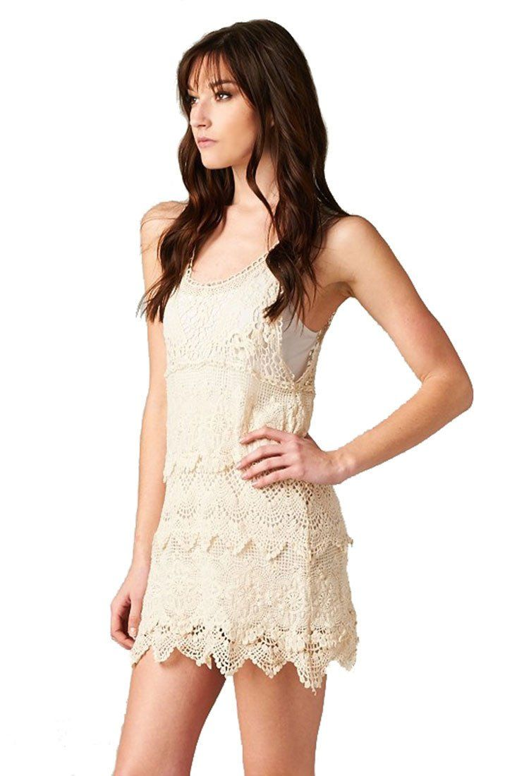 Textured Layered Sleeveless Scallop Crochet Lace Dress (Natural) Rompers- Niobe Clothing