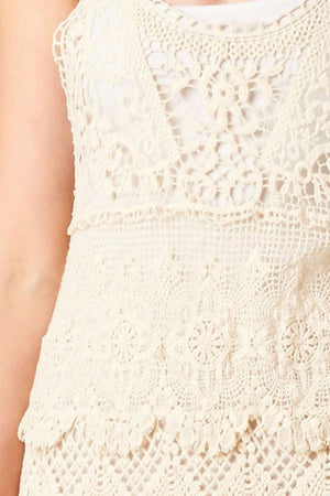 Textured Layered Sleeveless Scallop Crochet Lace Dress (Natural)-Rompers-Niobe Clothing