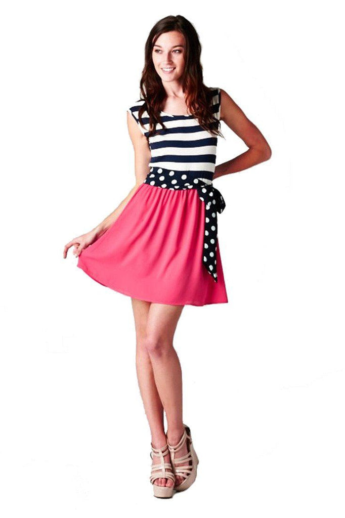 Navy Striped Solid Contrast Dress with Polka Dot Bow Belt (Navy/Fuchsia) - Niobe Clothing - 1