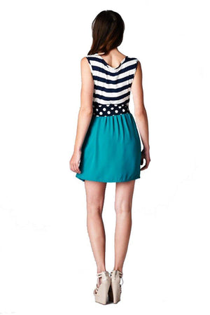 Navy Striped Solid Contrast Dress with Polka Dot Bow Belt (Navy/Jade) - Niobe Clothing - 1
