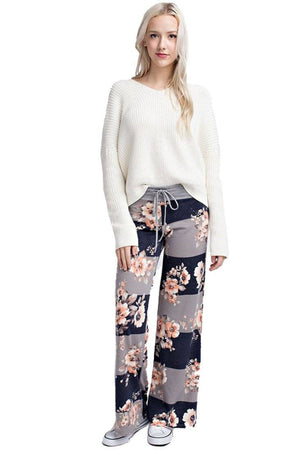 Striped Bloom Casual Lounge Pants in Navy pants- Niobe Clothing