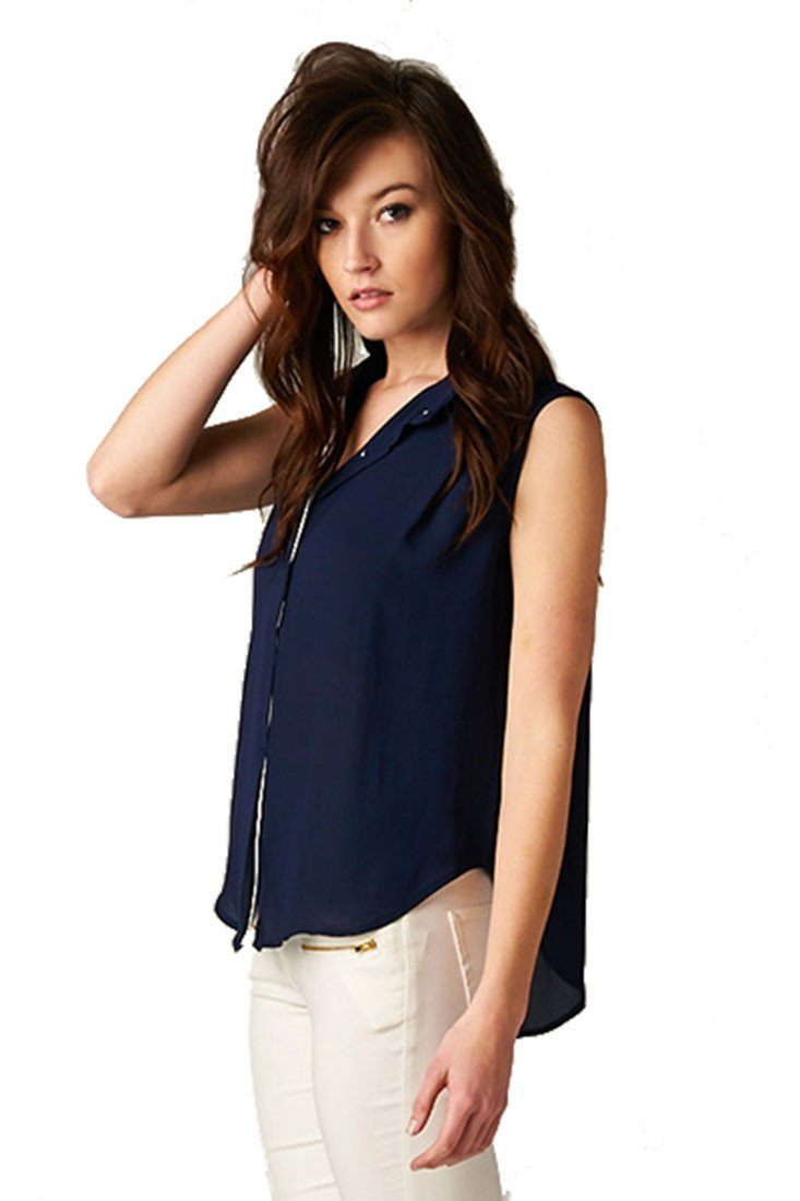 Sleeveless High Low Button Down Blouse (Navy) Tops- Niobe Clothing