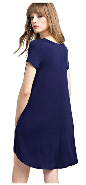 Bamboo Fiber Knit Short Sleeve V-Neck T-shirt Dress (Navy) dress- Niobe Clothing