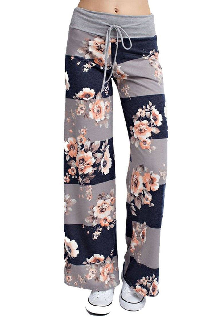 Striped Bloom Casual Lounge Pants in Navy