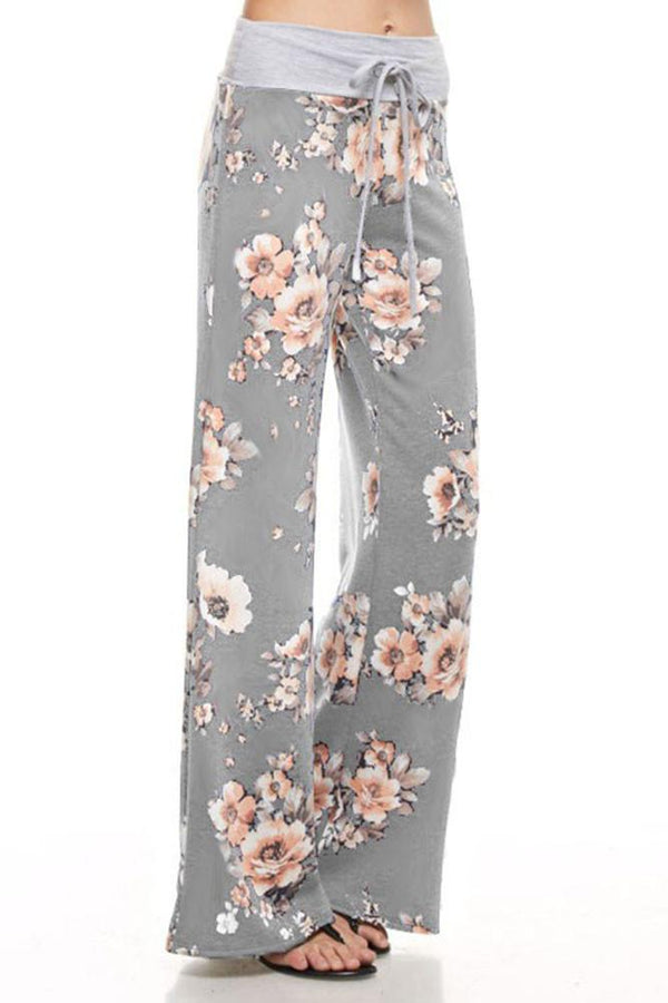 Floral Blossom Casual Lounge Pants in Heather Grey pants- Niobe Clothing