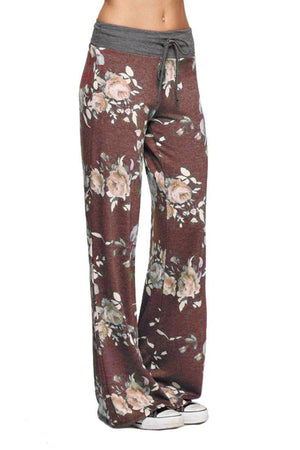 Burgundy Roses Casual Lounge Pants pants- Niobe Clothing