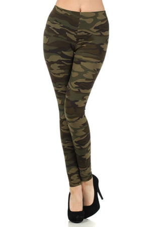 Army Graphic Print Lined Leggings leggings- Niobe Clothing
