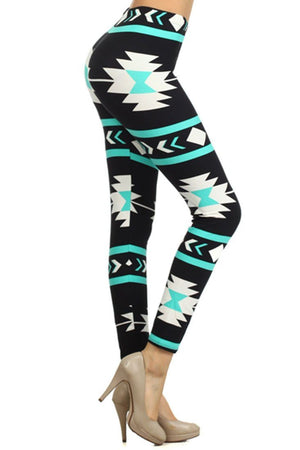 Mint Aztec Design Leggings leggings- Niobe Clothing