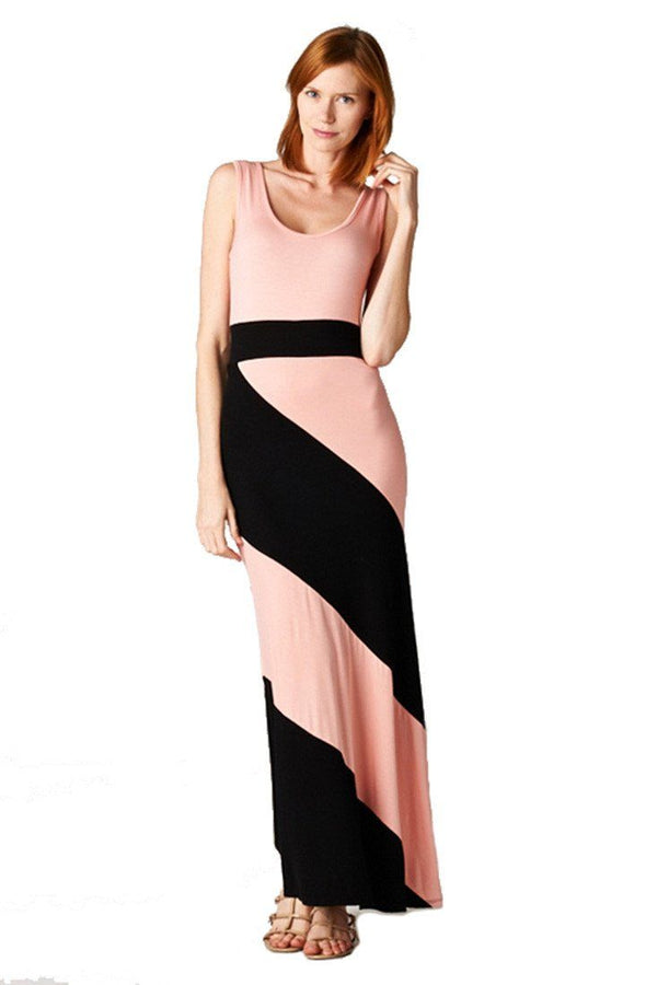 Panel Print Colorblock Knit Scoop Neck Jersey Maxi Dress (Peach) dress- Niobe Clothing